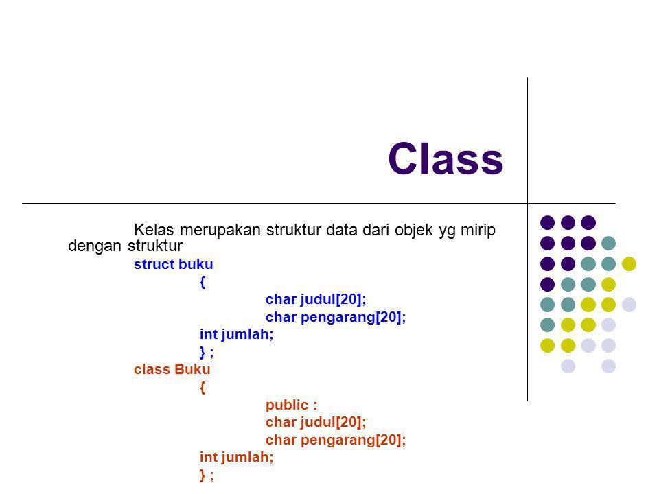 Class Kelas merupakan struktur data dari objek yg mirip dengan struktur. struct buku. { char judul[20];